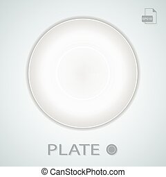 White Simple Plate Isolated On A Background. Vector Illustration.