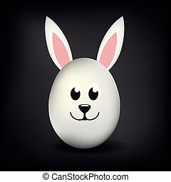 white single egg with bunny ears and happy happy face on black background