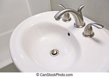 White sink in bathroom. - elegant white sink in bathroom.
