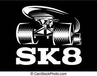 White skateboard on black background. Vector illustration