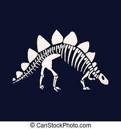 White skeleton and bones of a stegosaurus on blue background.