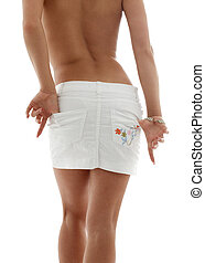 white skirt - classical image of voluptuous lady back in...