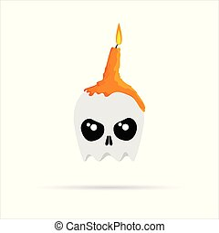 White skull with melted orange burning candles on Halloween. Vector illustration.
