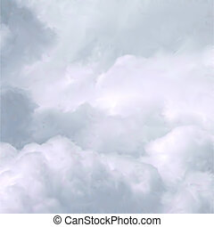 White Sky and Clouds. Vector