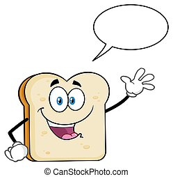 White Sliced Bread Cartoon Mascot Character Waving For Greeting With Speech Bubble