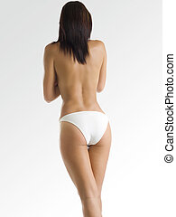 white slip - a beautiful and toned body viewed on the back...