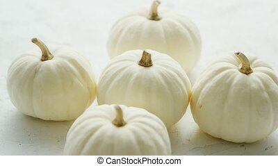 White small pumpkins - Heap of small white-colored pumpkins...