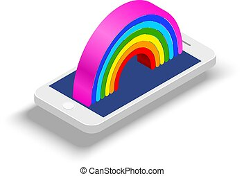 White smart phone in isometric style with a rainbow on the monitor on a white background. Vector illustration