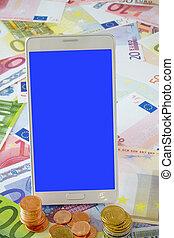 White Smart phone on Euro banknotes