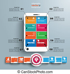 White Smartphone 8 Options Banner Infographic