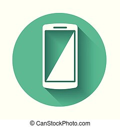 White Smartphone, mobile phone icon isolated with long shadow. Green circle button. Vector Illustration