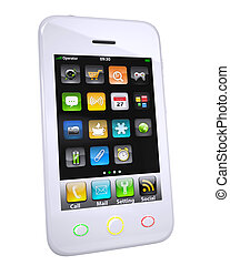 White smartphone. Isolated render on a white background