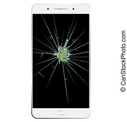 White Smartphone with broken screen. Communication is...