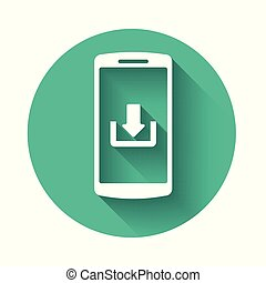White Smartphone with download icon isolated with long shadow. Green circle button. Vector Illustration