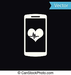 White Smartphone with heart rate monitor function icon isolated on black background. Vector Illustration