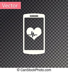 White Smartphone with heart rate monitor function icon isolated on transparent background. Vector Illustration