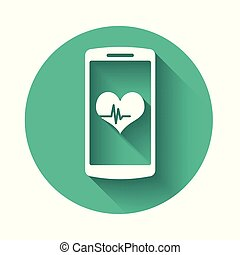 White Smartphone with heart rate monitor function icon isolated with long shadow. Green circle button. Vector Illustration