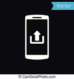 White Smartphone with upload icon isolated on black background. Vector Illustration