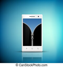 White Smartphone with zipper on the screen