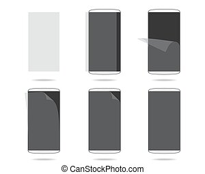 White smartphones screen with protector glass set different steps