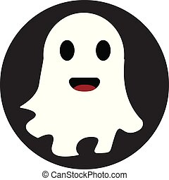 White smiling ghost in black circle vector illustration on ...