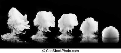 White smoke explosion isolated on black