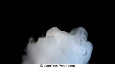 White Smoke Isolated on Black Background - Smoky fog clouds...