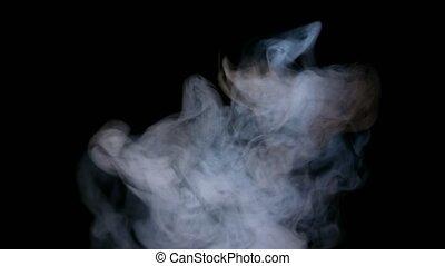 White Smoke Isolated on Black Background - Smoky fog clouds...