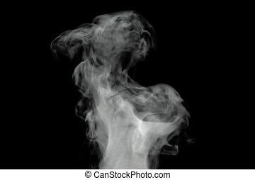 White smoke on black background, 3D rendering