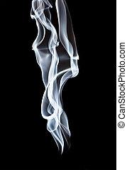white smoke on deep black background
