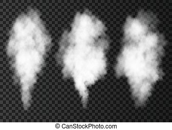 White smoke puff collection isolated on transparent background. Steam explosion special effect. Realistic vector column of fire fog or mist texture .