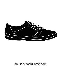 white sneakers unisex lace up. Shoes for sports and daily life.Different shoes single icon in black style vector symbol stock illustration.