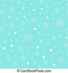 White snow falling on blue background vintage seamless pattern