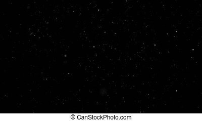White Snow Falling on Isolated Black Background