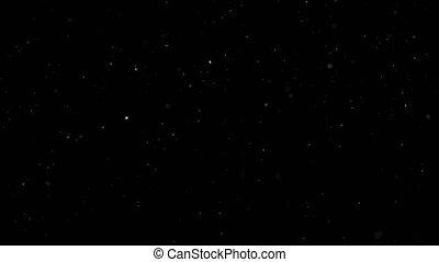 White Snow Falling on Isolated Black Background, Shot of...