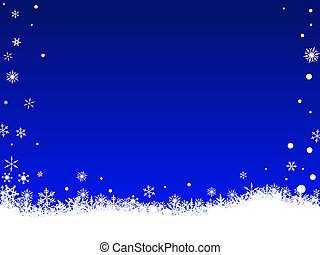 White Snow Flakes on Blue