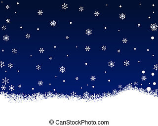 White Snow Flakes on Dark Blue