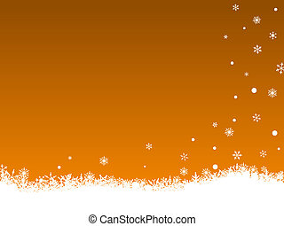White Snow Flakes on Orange