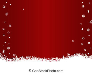 White Snow Flakes on Red with Copypace