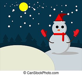 Snow man on night winter
