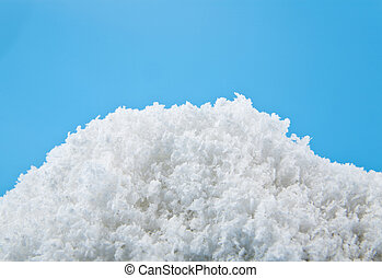 white snow on a blue background