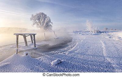 White snow on the ice