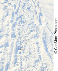 White snow with footprints