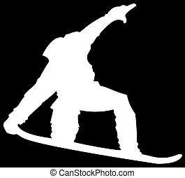 White Snowboarder Flat Icon on Black Background