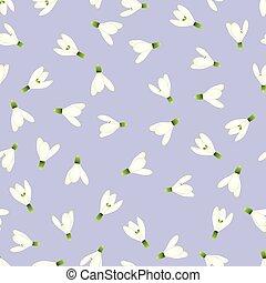 White Snowdrop Seamless on Light Purple Background
