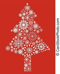 white snowflake Christmas tree on red background