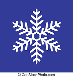 white snowflake on a blue background, vectorial illustration
