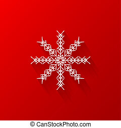 White snowflake flat icon with red background, vector