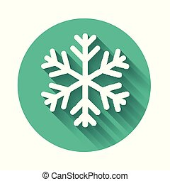 White Snowflake icon isolated with long shadow. Green circle button. Vector Illustration