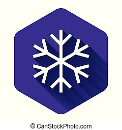 White Snowflake icon isolated with long shadow. Purple hexagon button. Vector Illustration